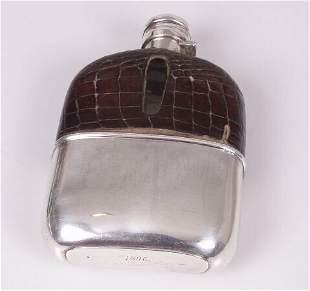 Late Victorian mounted hip flask, semi