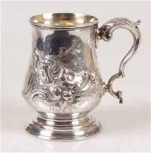 Late Victorian christening mug, of foli