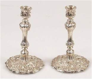 Pair of late Victorian tapersticks, of
