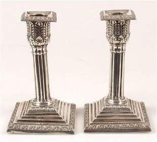 Pair of late Victorian candlesticks, of