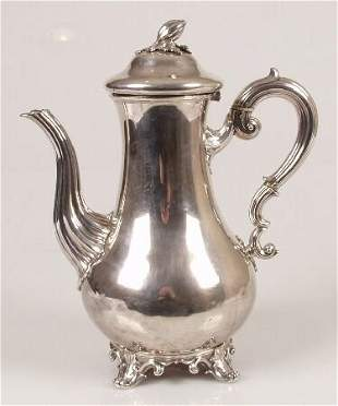 Early Victorian coffee pot, of baluster