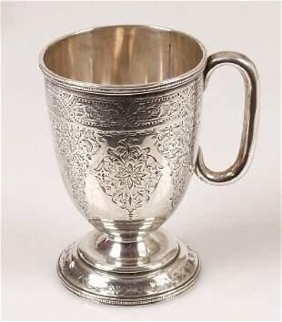 Victorian christening mug, on pedestal