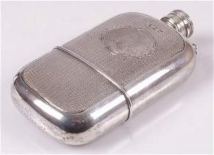 Victorian engine turned hip flask, of r