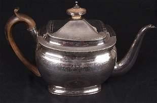 George III teapot, of boat form, engrav