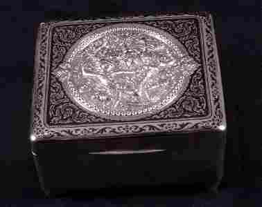1272: A Far Eastern white metal wood lined bo