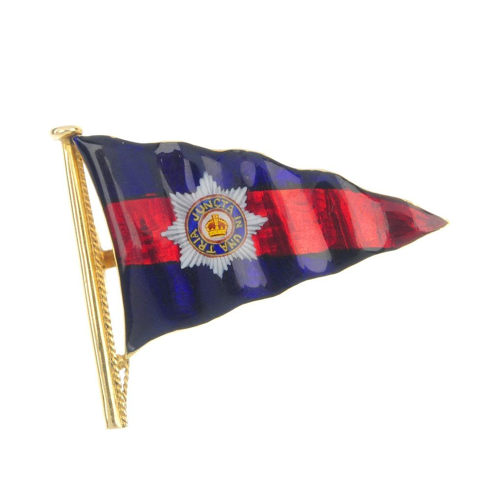 BENZIE OF COWES - an enamel flag brooch.