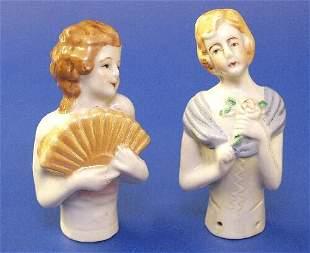 19: Two Japanese porcelain half dolls one mod