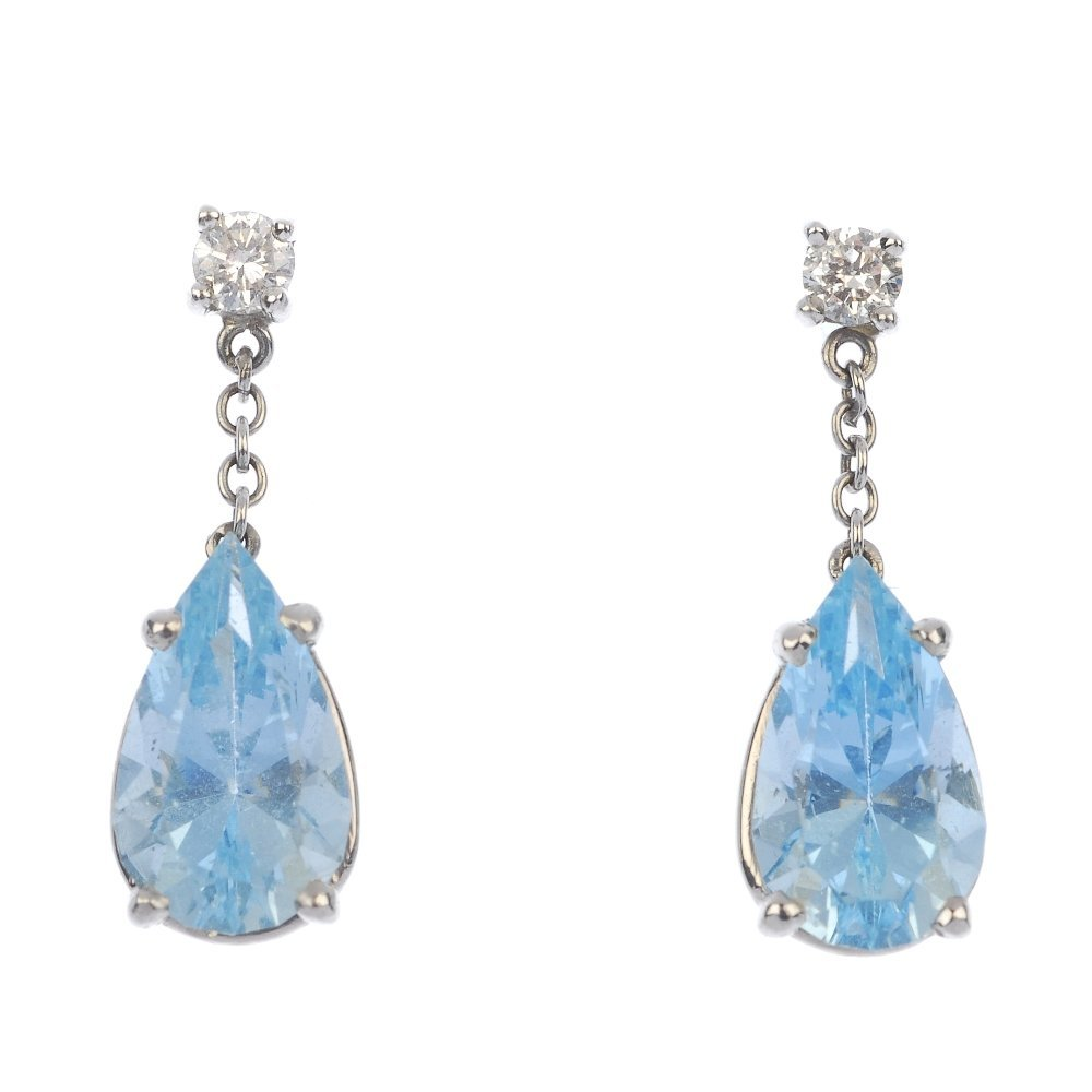 A pair of aquamarine and diamond ear pendants.