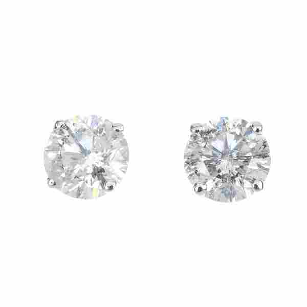 A pair of 9ct gold brilliant-cut diamond single-stone