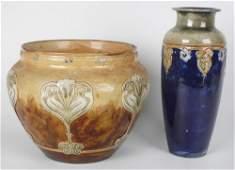 A Royal Doulton stoneware vase plus a similar jardiner