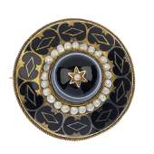 A late Victorian gold onyx, split pearl and enamel