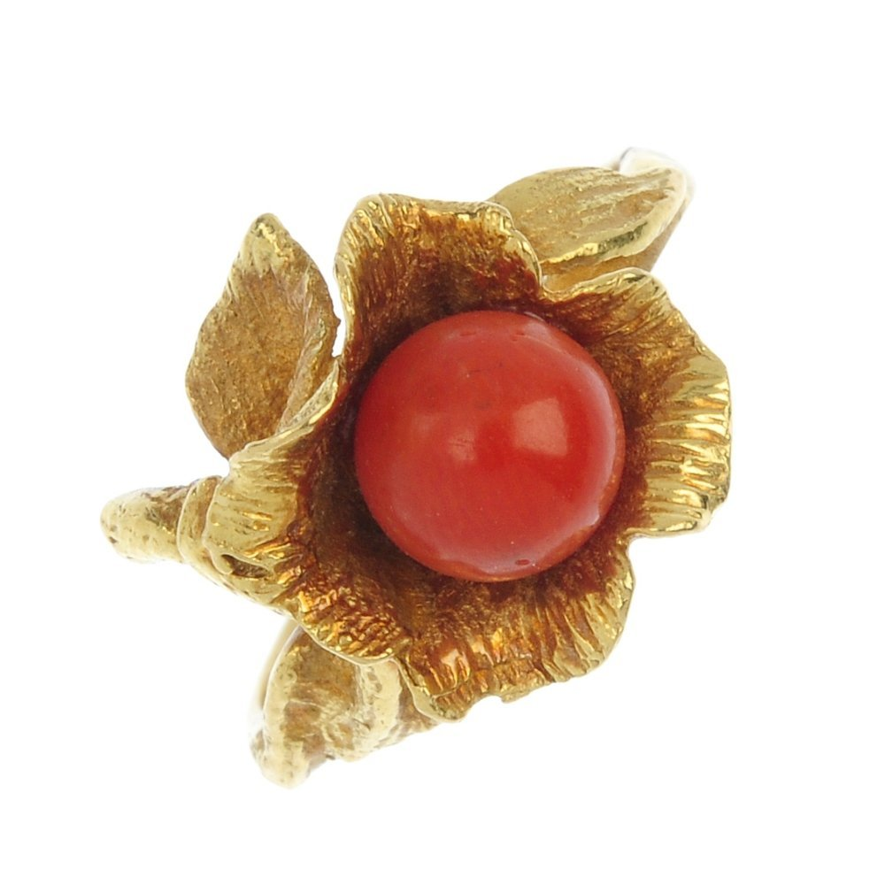 A mid 20th century 18ct gold coral floral ring.