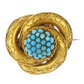 A late Victorian 18ct gold turquoise knot brooch circa