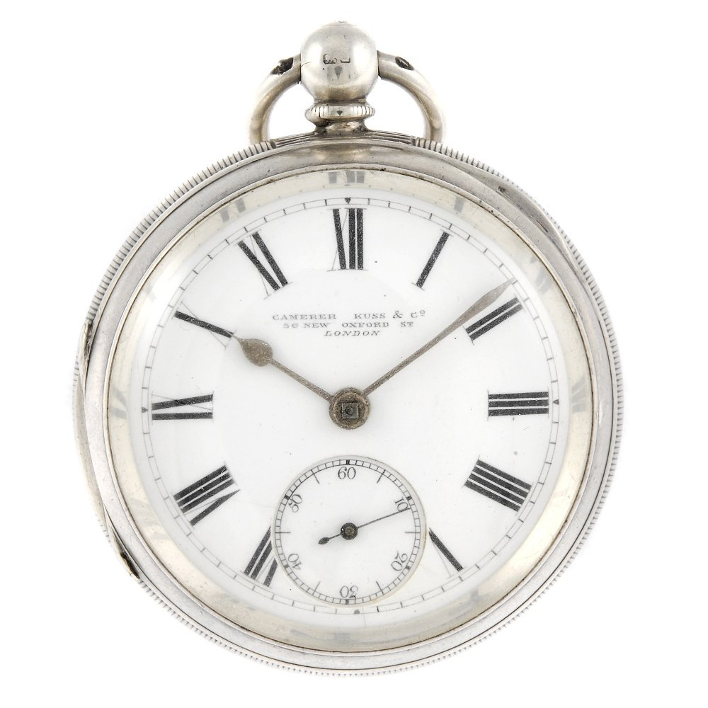 A silver open face pocket watch by Camerer Kuss & Co.