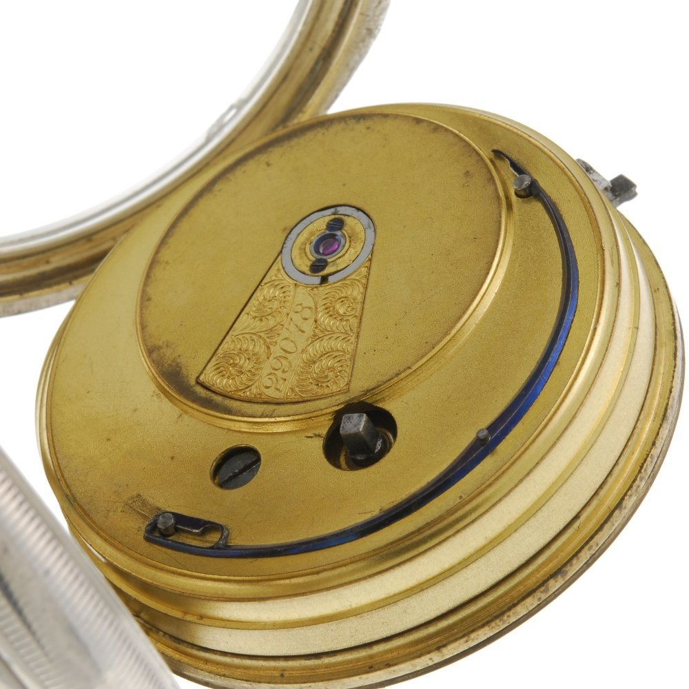 A silver open face pocket watch by Camerer Kuss & Co. - 4