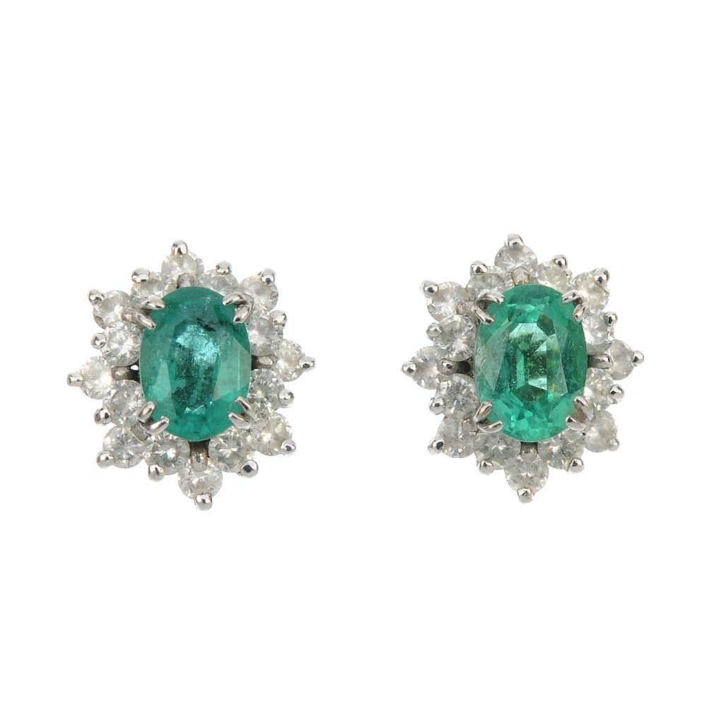 A pair of 18ct gold emerald and diamond cluster ear