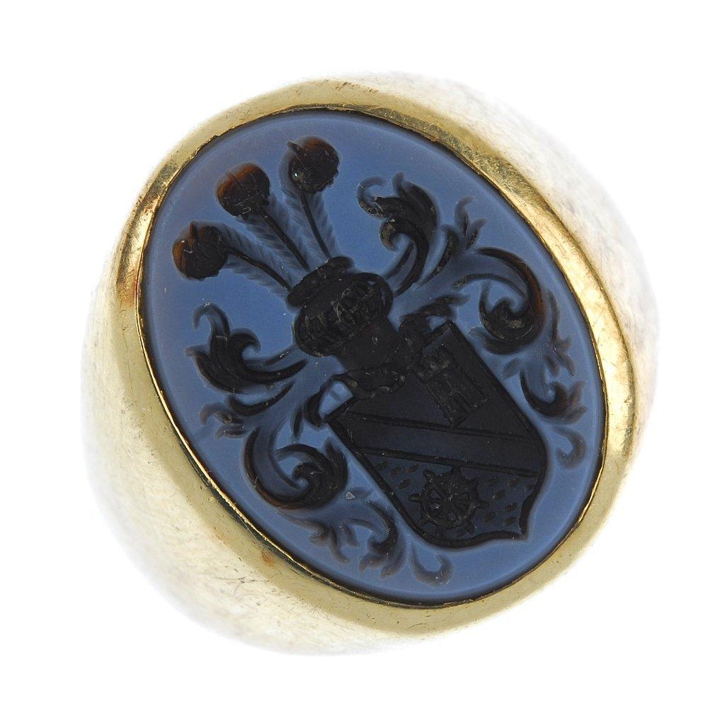 A gentleman's agate signet ring.