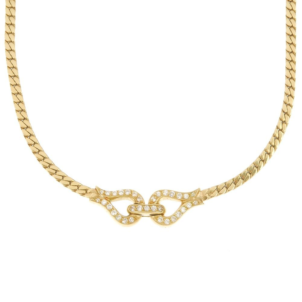 An 18ct gold diamond necklace.