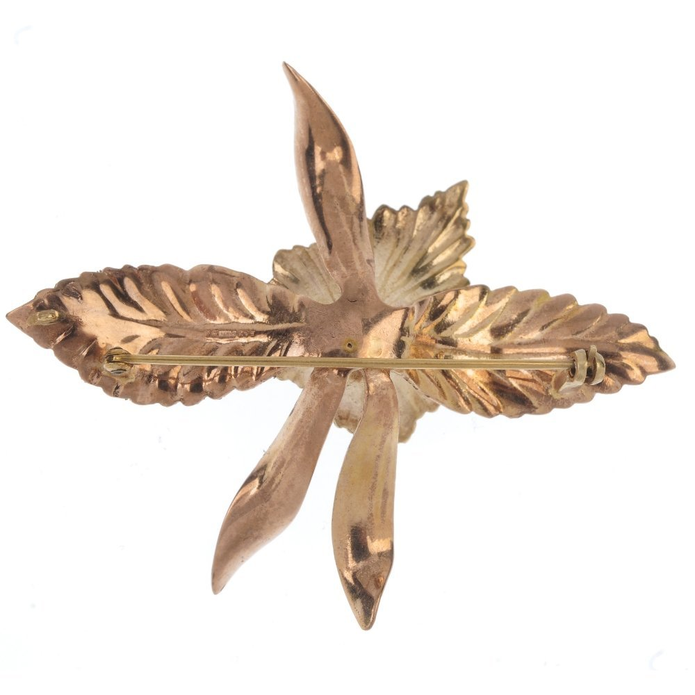 A 1960s 9ct gold orchid brooch. - 2