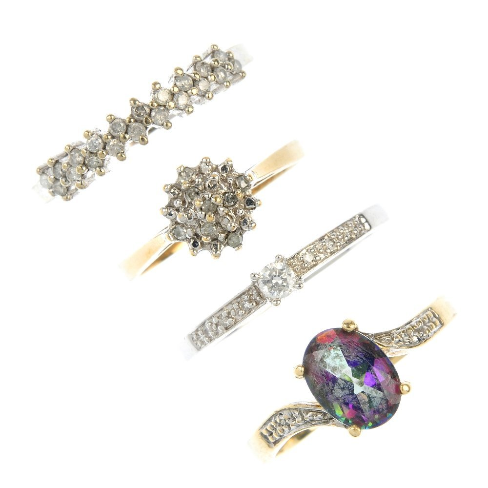 A selection of four diamond and gem-set rings.