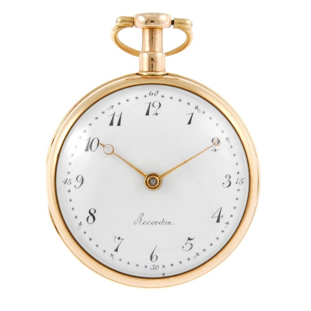 A George III open face pocket watch by Louis Recordon,