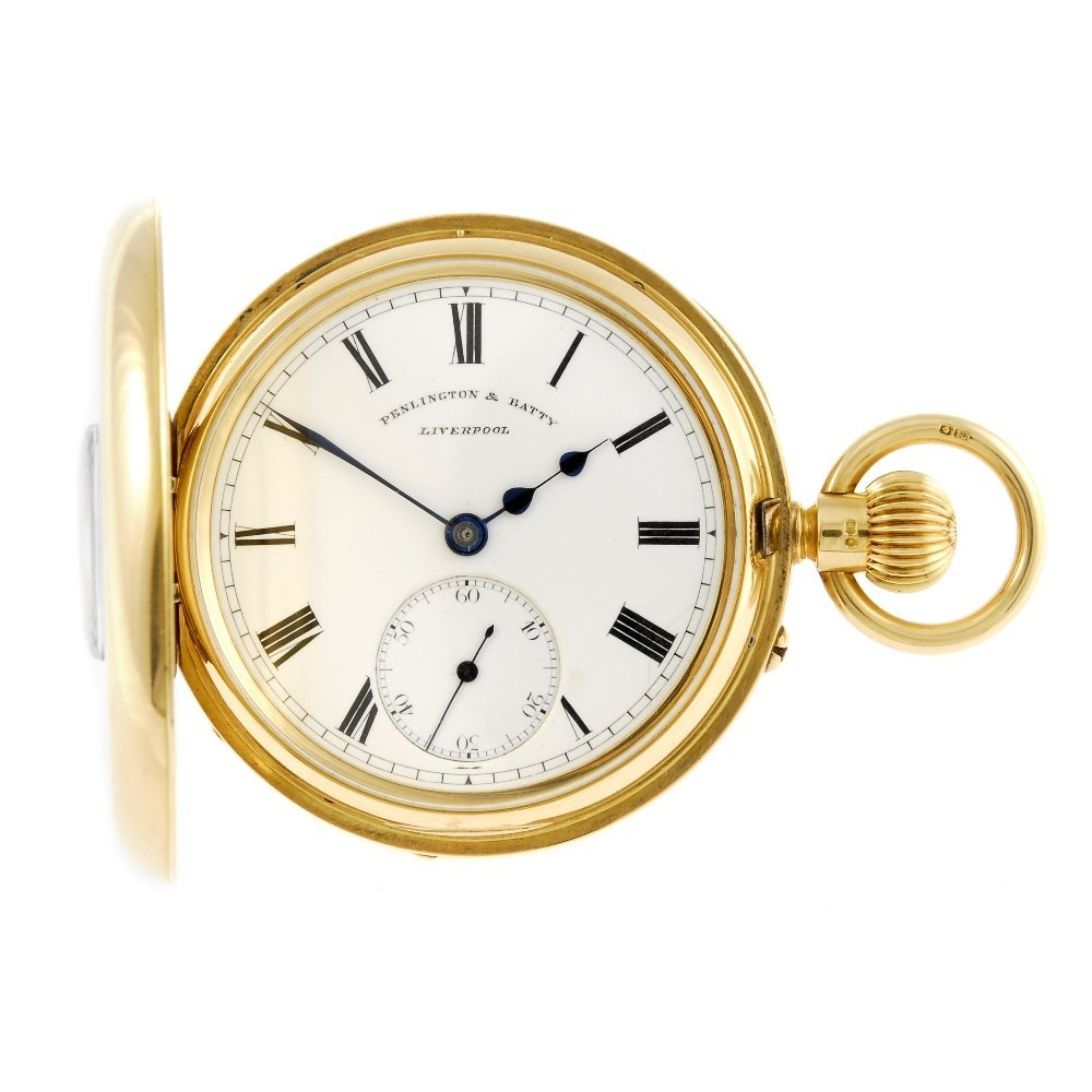 A half hunter pocket watch by Penlington and Batty with