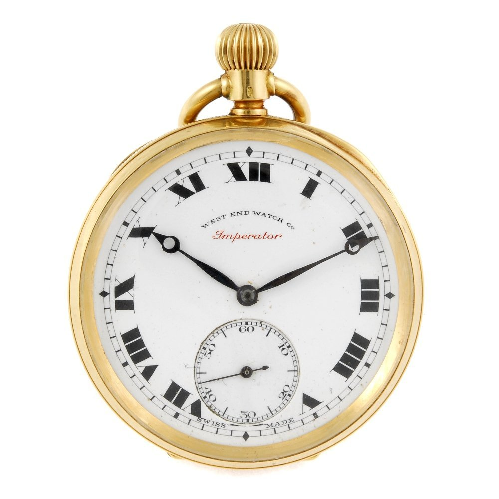 An open face pocket watch by West End Watch Co.