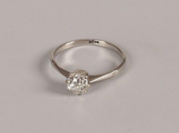 10: Platinum mounted single stone old cut diamond ring
