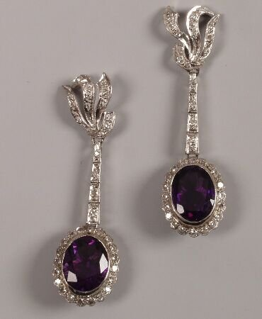 12: A pair of oval amethyst and diamond cluster dropper