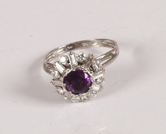 19: Amethyst and diamond white metal (Continental) clus