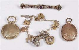 140 Collection of items to include a 9ct gold charm br