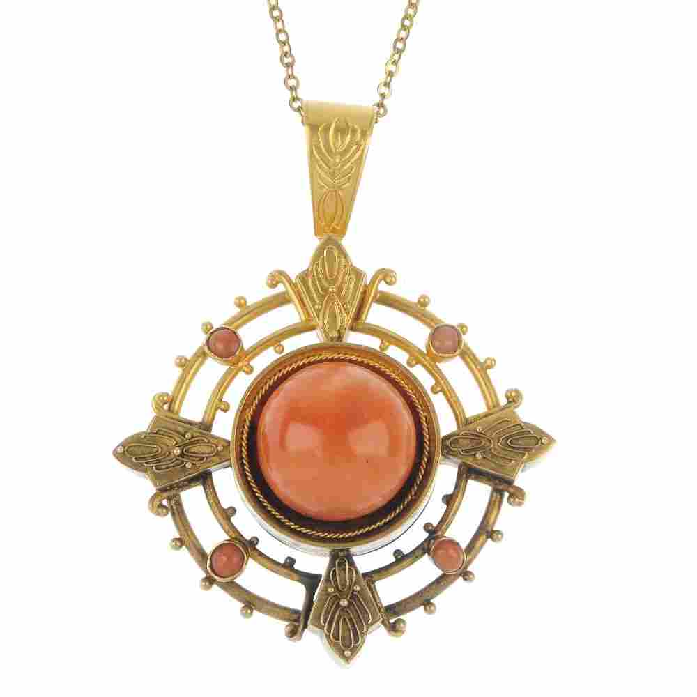 A late Victorian 18ct gold coral pendant and earring se