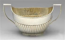 A Victorian twinhandled sugar bowl  a similar cream
