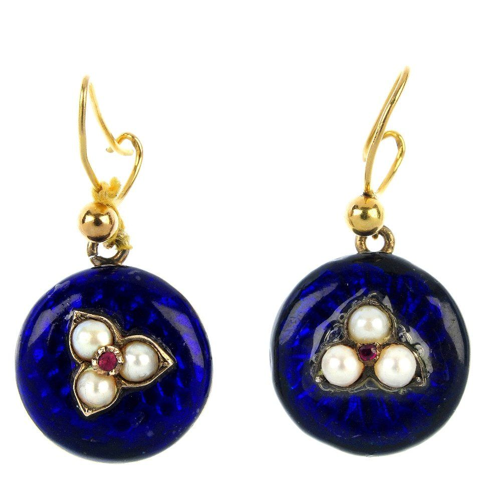 A pair of Victorian gold enamel and split pearl ear
