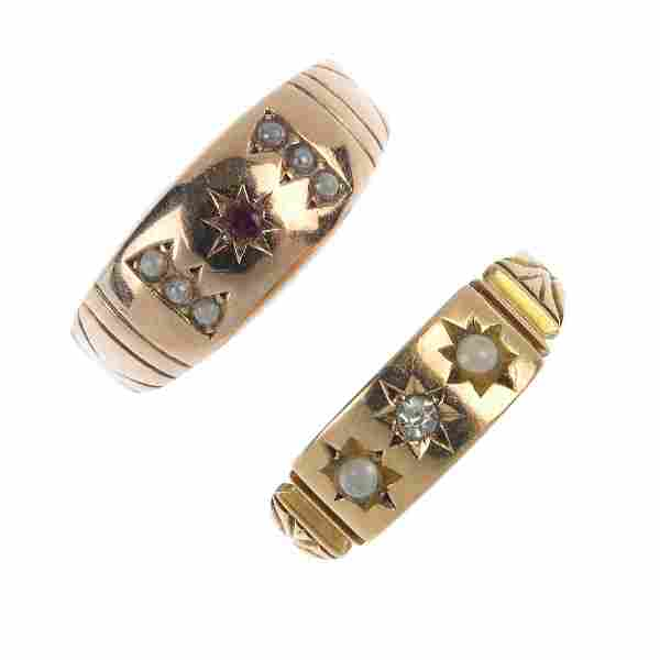 Two late Victorian gold gem-set rings.