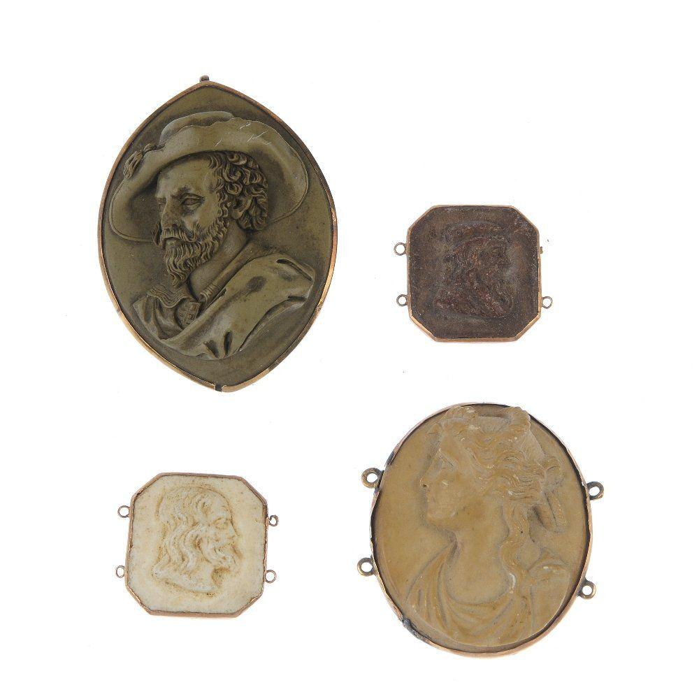 Four items of lava cameo jewellery.