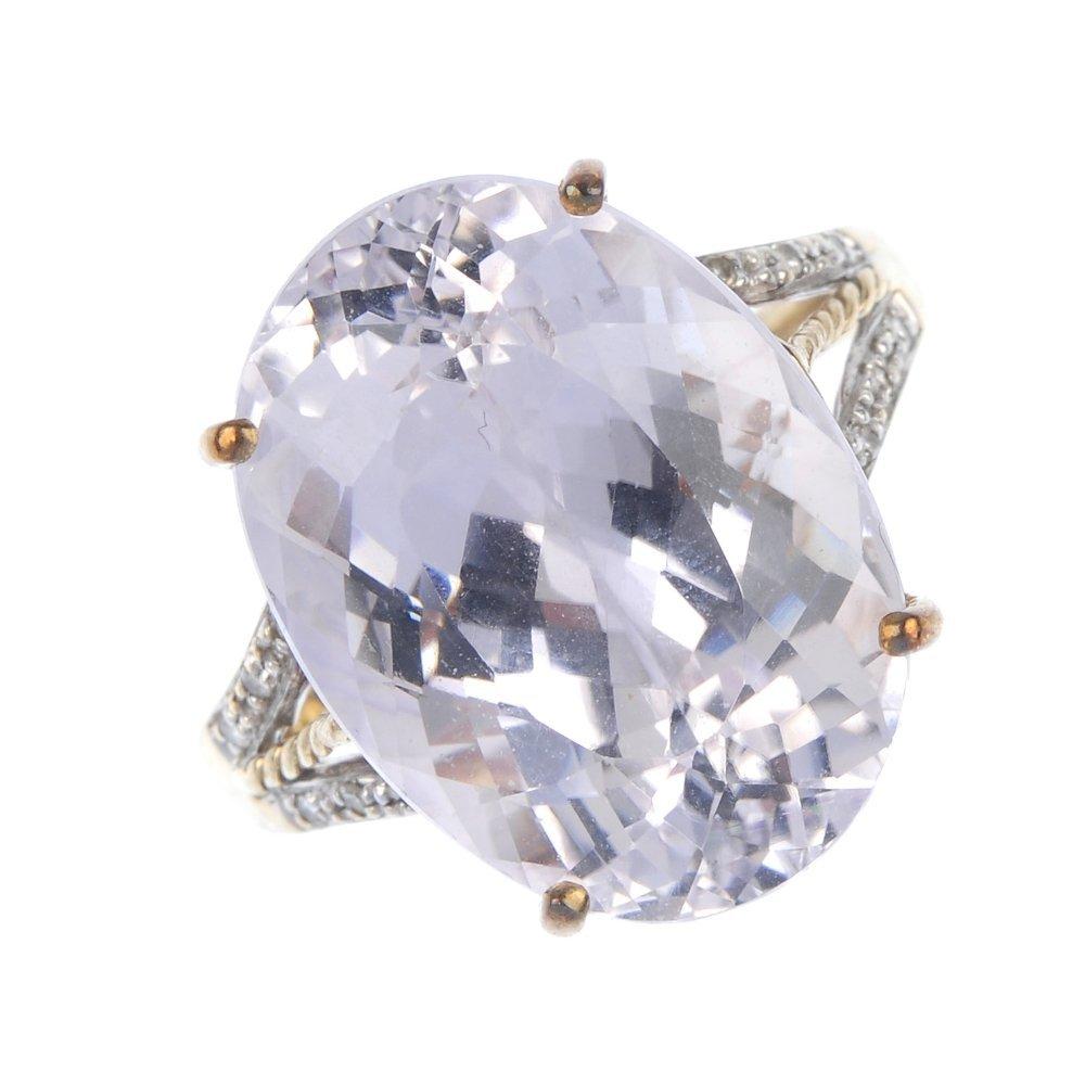 A 9ct gold kunzite and diamond dress ring.