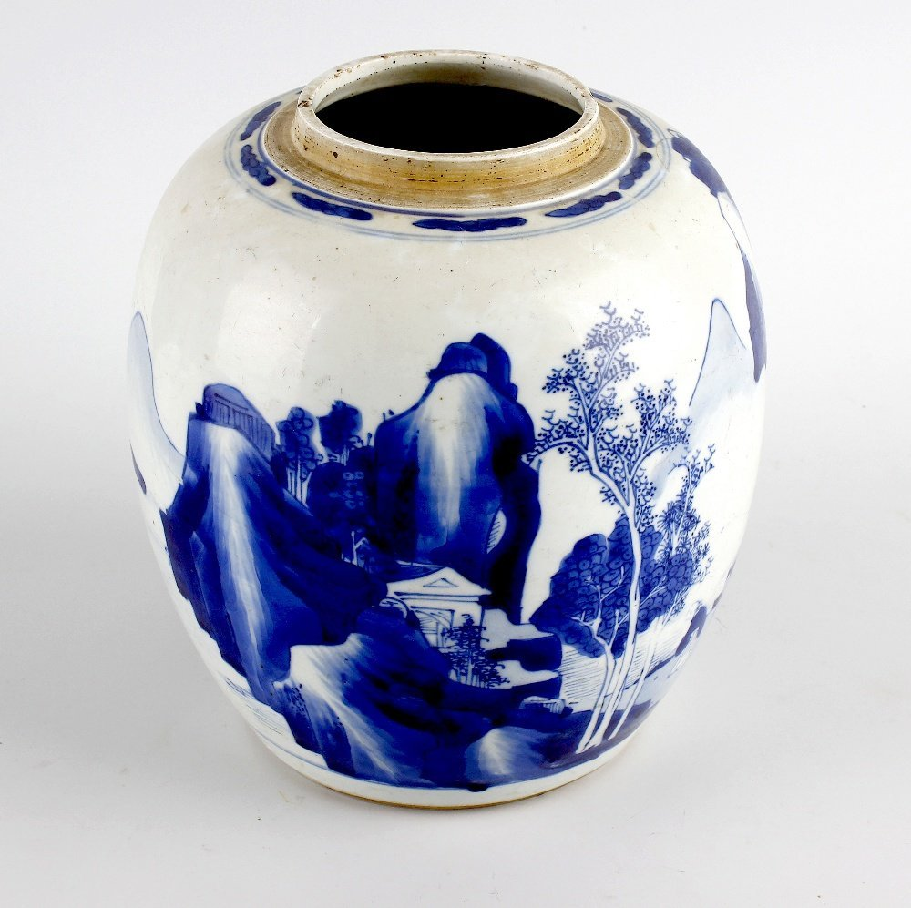A large Chinese porcelain blue and white jar.