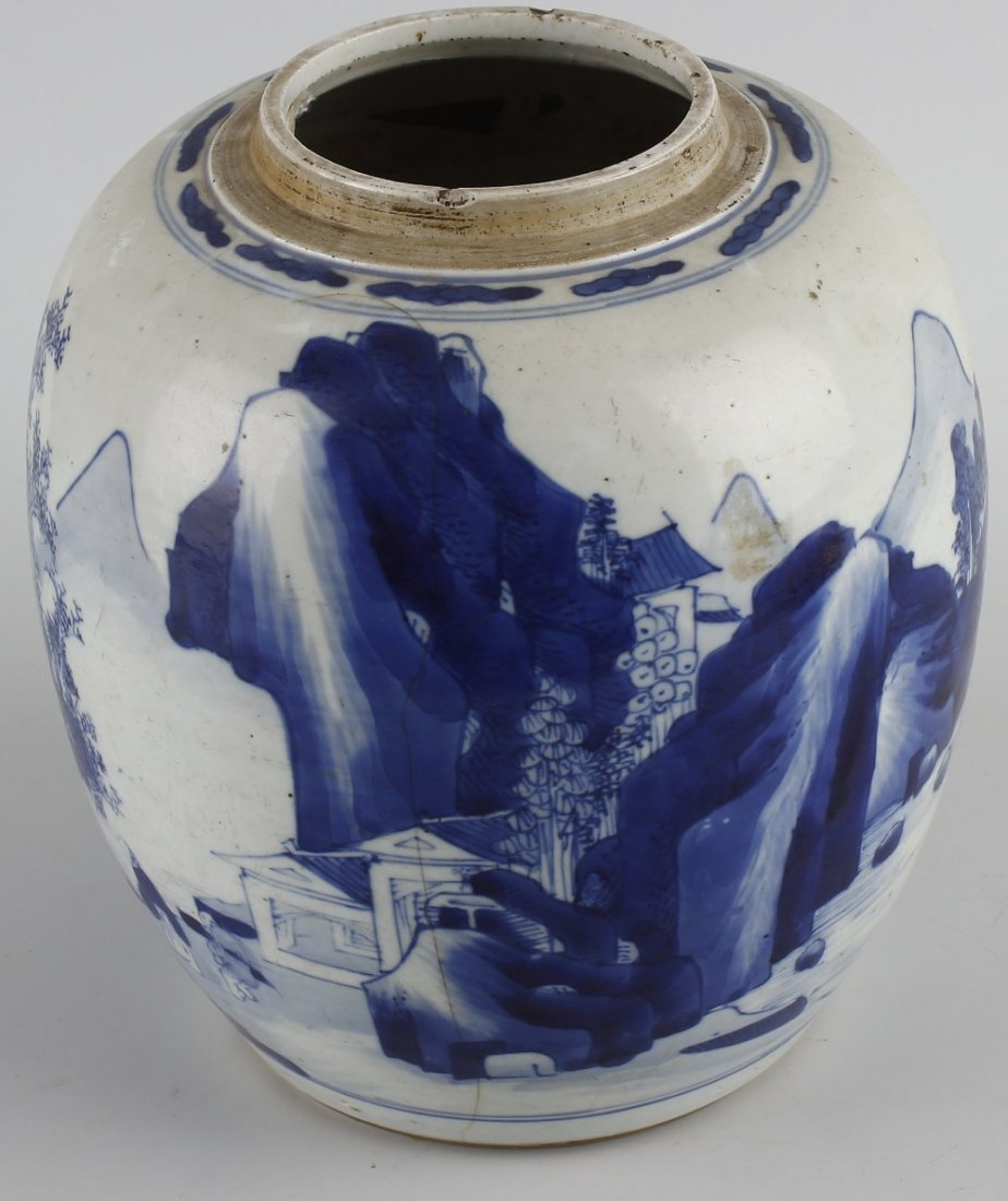 A large Chinese porcelain blue and white jar. - 2