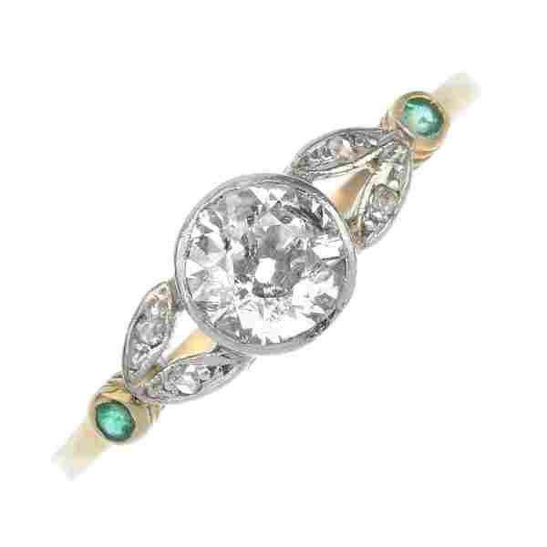 An early 20th century 14ct gold diamond and emerald