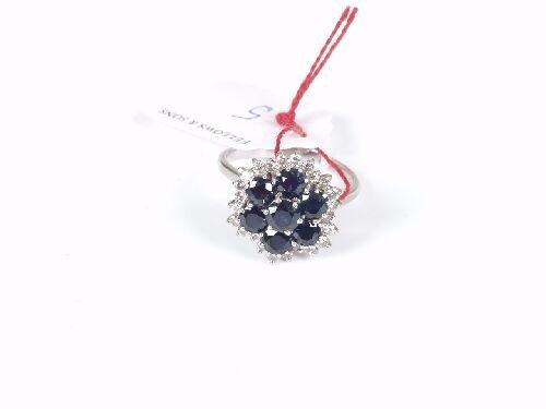 1005: 18ct white gold sapphire and diamond th