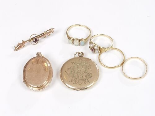 1020: Pie lot to include, 9ct gold oval locke