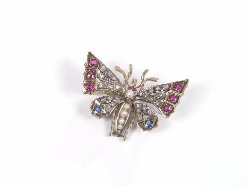 1023: Victorian gold rose cut diamond and gem