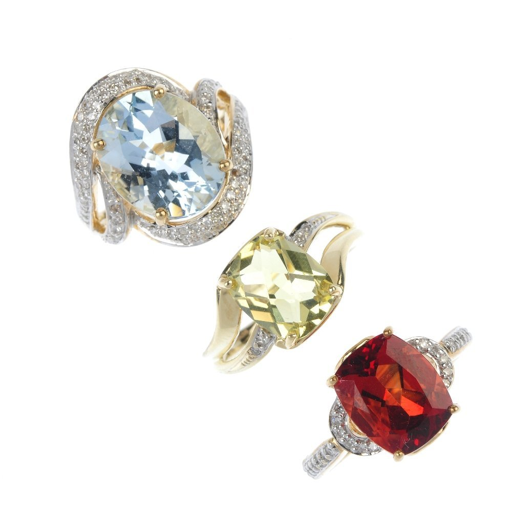 A selection of three 9ct gold diamond and gem-set