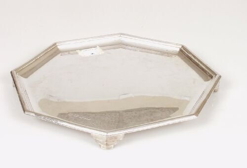 2002: A silver Art Deco salver of octagonal f