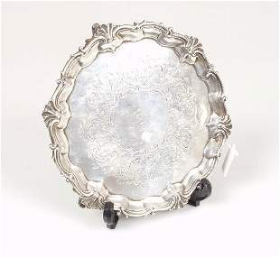A Victorian silver salver, with applied