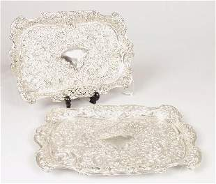 A pair of late Victorian trays of recta