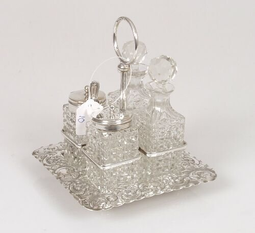 2010: A miniature cruet set, fitted with four