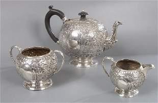 A Victorian three piece tea service and