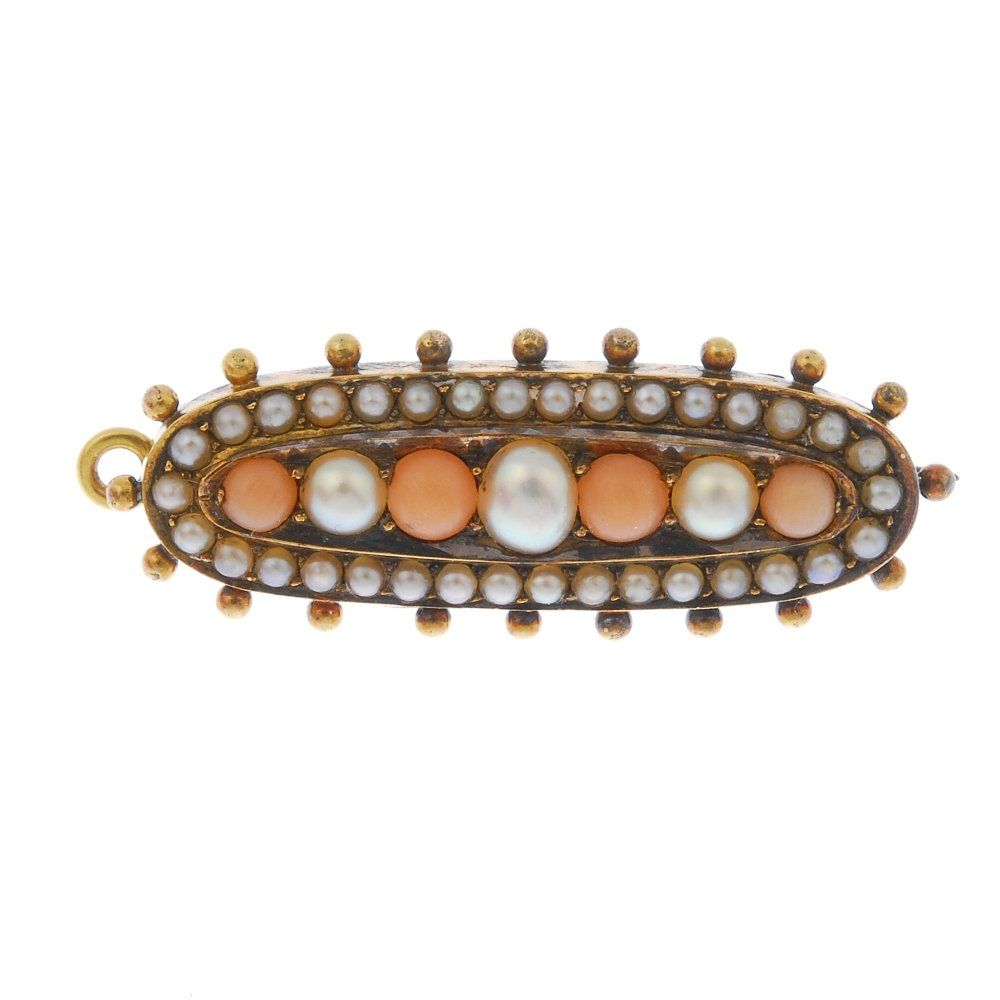 A late Victorian 18ct gold coral and split pearl